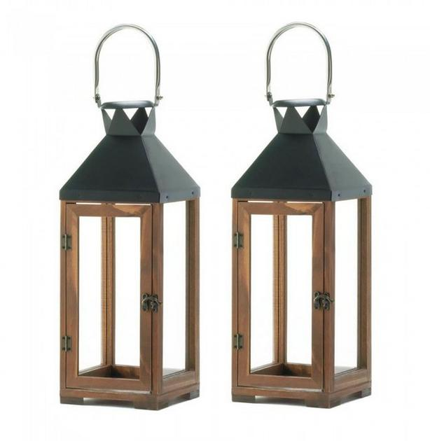 Tall Wooden Candle Lantern Black Metal Top Stainless Steel Handle 2 Lot
