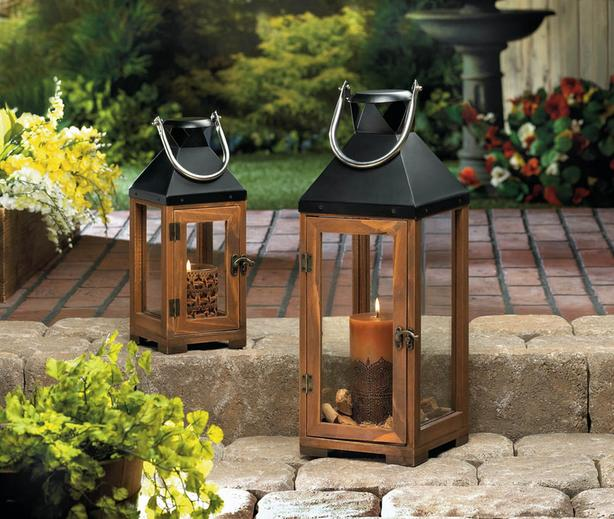 Wooden Candle Lantern Black Metal Top & Stainless Steel Handle Lg&Sm 2 Lot Mixed