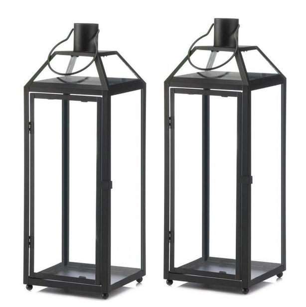 """Large Black Candle Lantern with Slanted Glass Roof Panels 2Lot 21.5"""" Tall"""