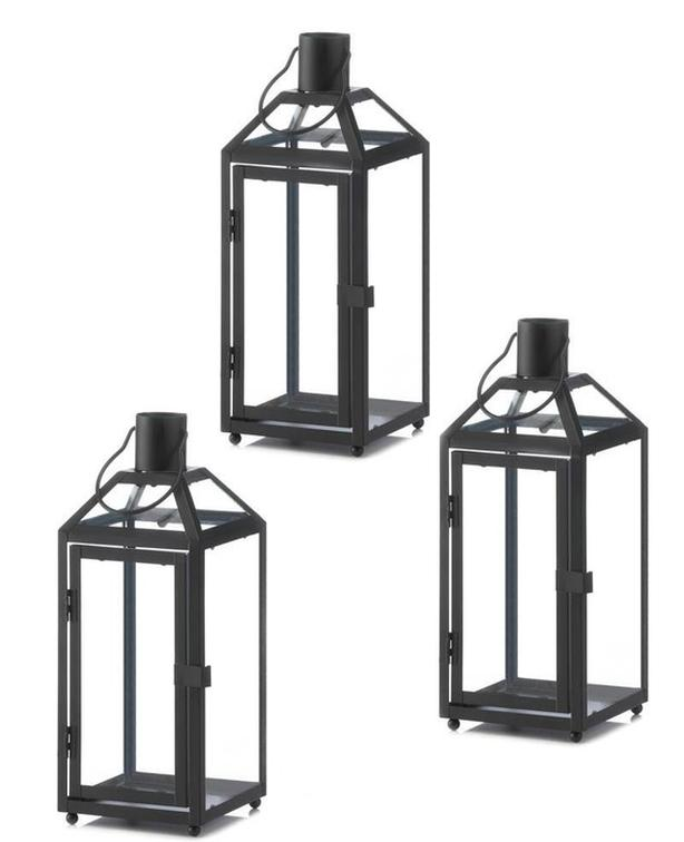 "Large Black Candle Lantern Slanted Glass Roof Panels 3Lot 16.5"" Tall"