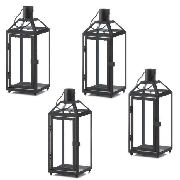 """12"""" Black Metal Candle Lantern with Slanted Glass Roof Panels 4 Lot"""