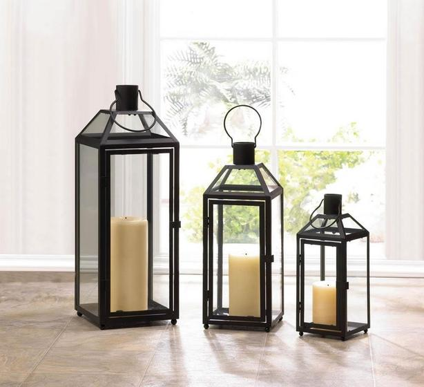 Black Metal Candle Lantern Clear Glass Panels S/M/L Mixed Lot of 3 NEW