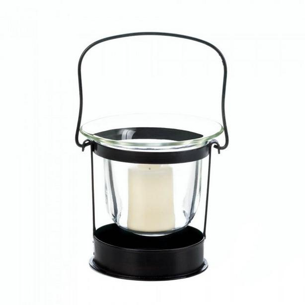 Black Metal Mini Lantern with Handle & Clear Glass Candle Cup 6Lot +Candles