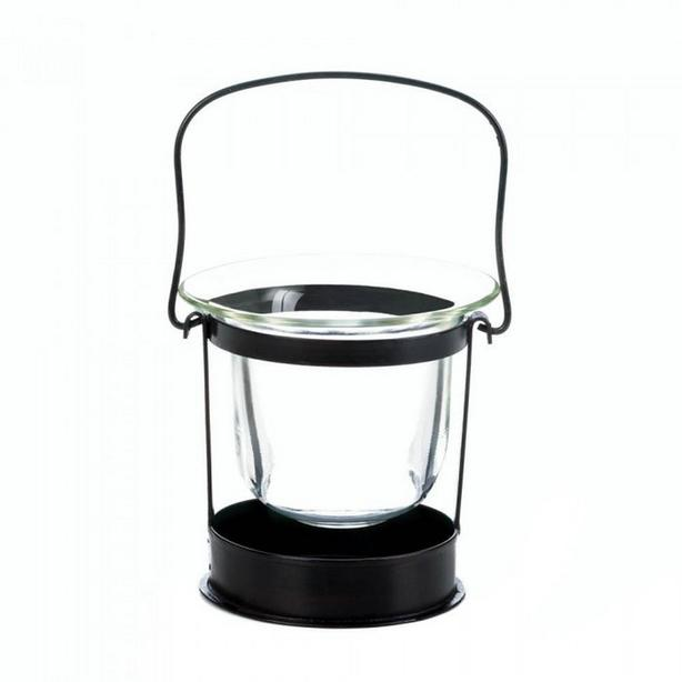 Small Black Metal Mini Lantern with Handle & Clear Glass Candle Cup 8 Lot