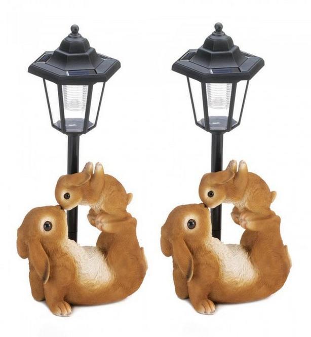 Solar Bunnies Rabbit Statue LED Pathway Lamp Post Lantern Light Set of 2 Cute