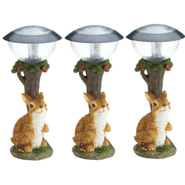 Adorable Solar Bunny Rabbit Yard Ornament LED Pathway Light Lamp 3 Lot New