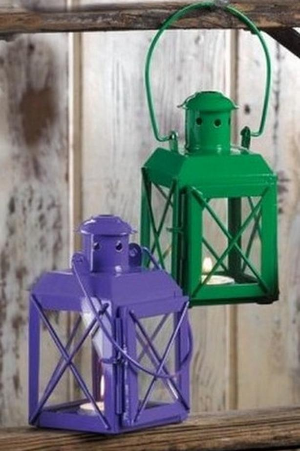 Small Railway Candle Lantern Lamp Green Purple 6 Lot + Candles Choice
