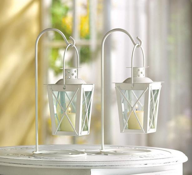 Tabletop Hanging Railway Railroad Candle Lantern Lamp 5PR White 10PC