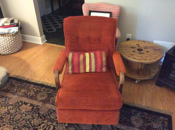 Retro orange rocker chair