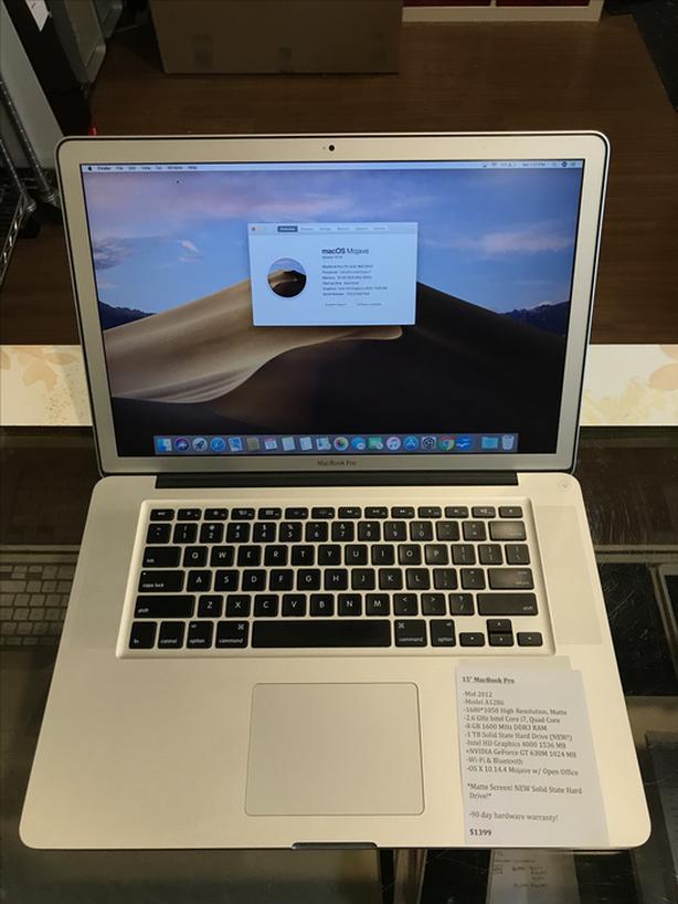 "15"" MacBook Pro 2.6GHz Intel Core i7 Quad 16GB RAM 1TB SSD w/ Warranty!"