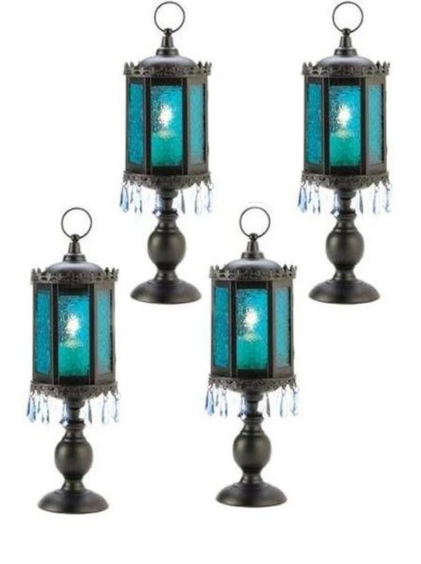 Blue Glass Candleholder Lantern Lamp Black Pedestal Base Jewel Accents Set of 4
