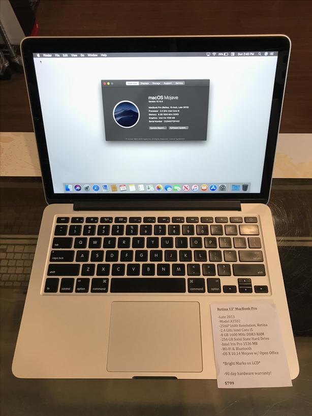 """Retina 13"""" MacBook Pro 2.4GHz Intel Core i5 8GB RAM 256GB SSD w/ Warranty!"""