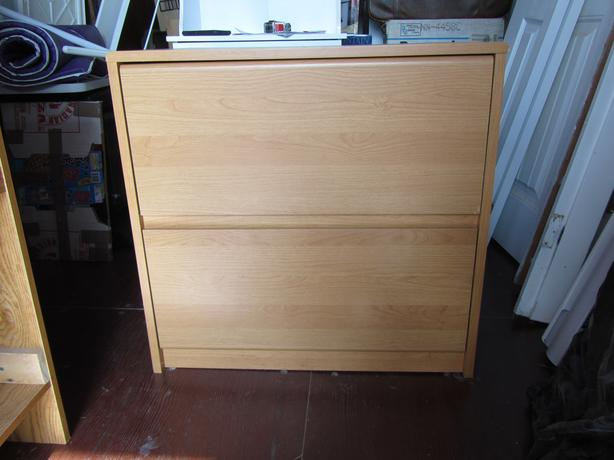 Wood finish 2 drawer wide filing cabinet
