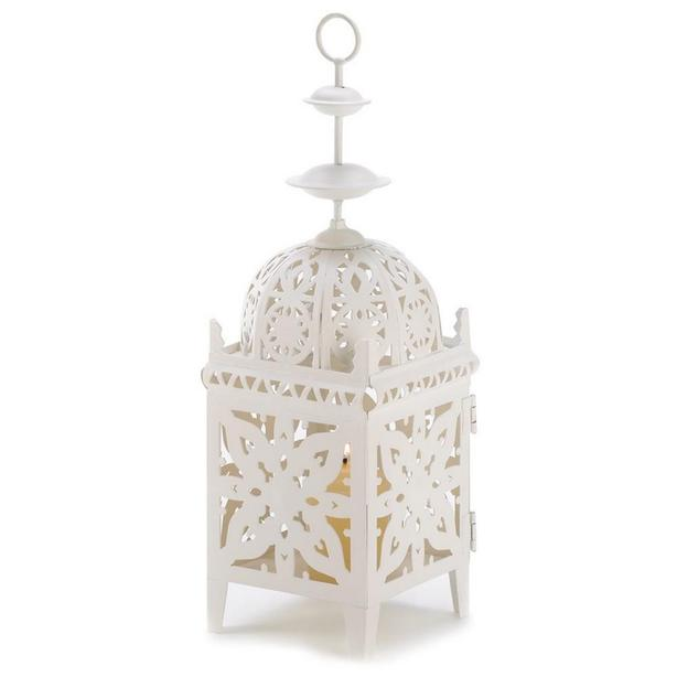 White Metal Candle Lantern Intricate Medallion Cutout Wedding Centerpiece 25 Lot