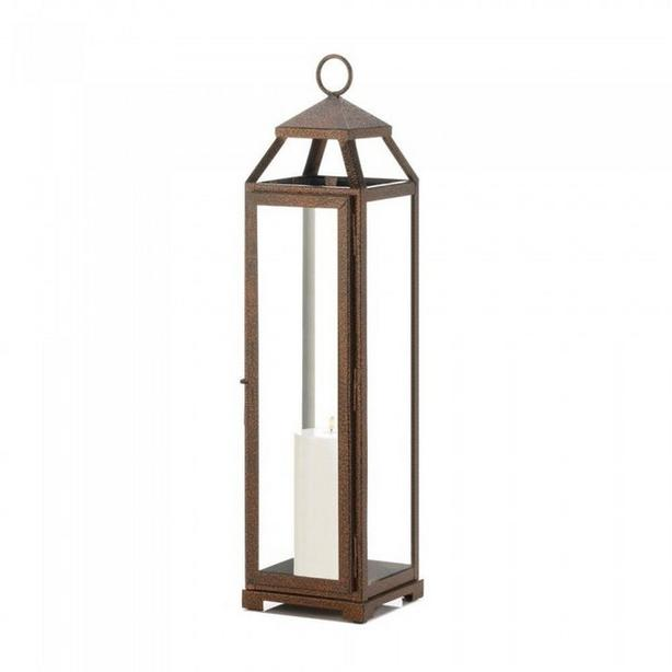 Tall Open Top Candle Lantern Clear Glass Panels White Copper 2 Lot Choice NEW