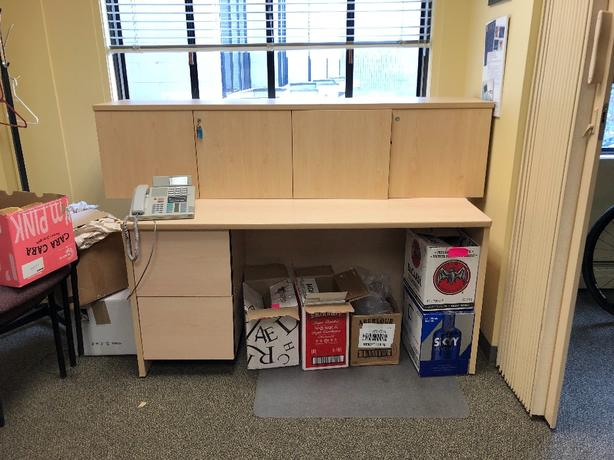 office desk and locking upper cabinet