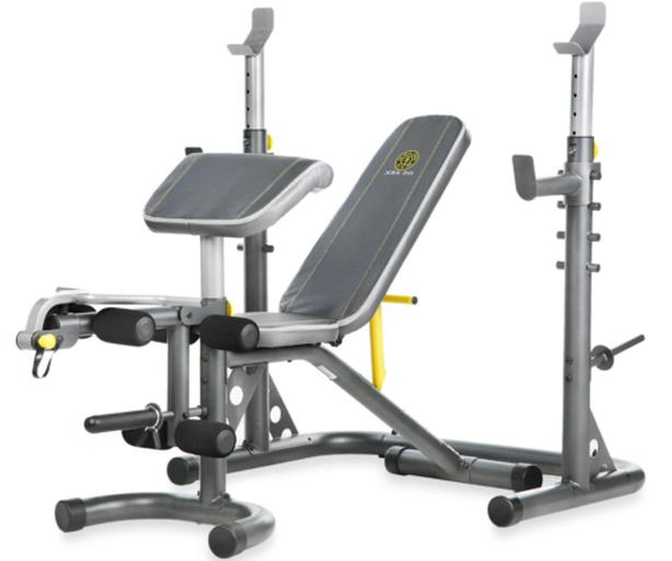 Gold Gym XRS 20 Olympic Incline Decline Bench Weight Lifting Workout with Rack