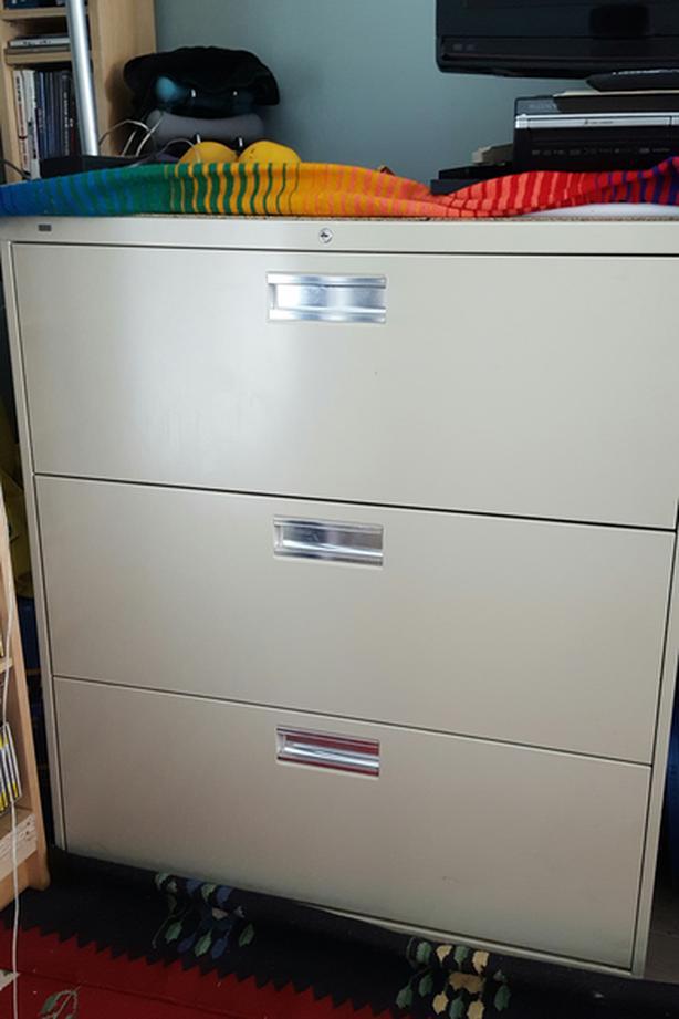 Metal 3-Drawer Filing Cabinet - Beige