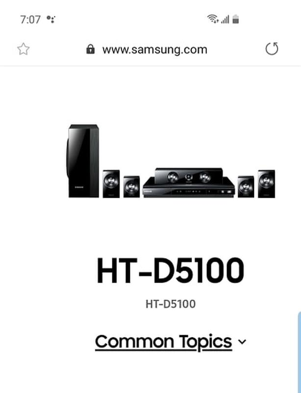 Samsung HT-D5100 Blue Ray player and surround sound speakers
