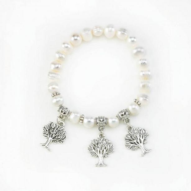 Pearl Beaded Stretch Bracelet 2 Designs Cross & Tree Charms 8 Lot Bulk Buy