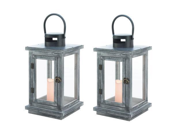 Large Rustic Gray Wood Flameless LED Candle Lantern Glass Panels Set of 2 NEW