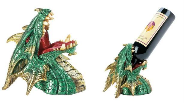 Green Dragon Collectibles Wine Bottle Holder Goblets & Incense Burner 4PC Mix