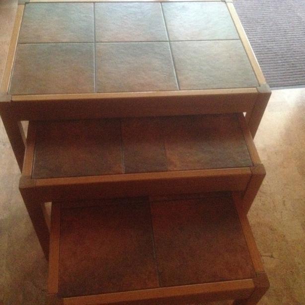Teak tiled nest of tables