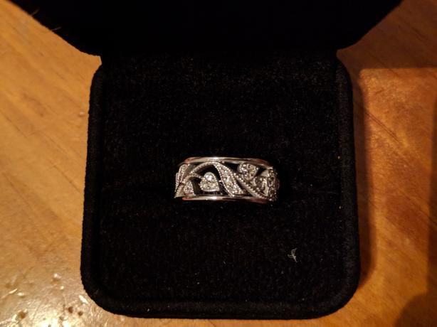 14 kt white gold, floral band, 45-diamond engagement ring