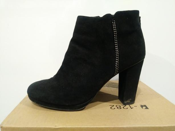 GEOX brand RESPIRA suede-style black heeled boots - size 38