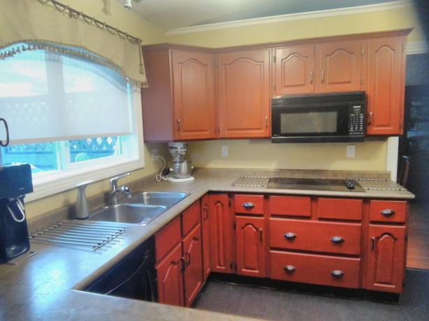 Solid wood Kitchen cabinets. Rich Cherry finish.