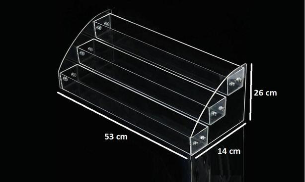 Display Shelves, 3 tier, acrylic