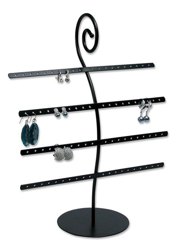 Earring stand, black, metal
