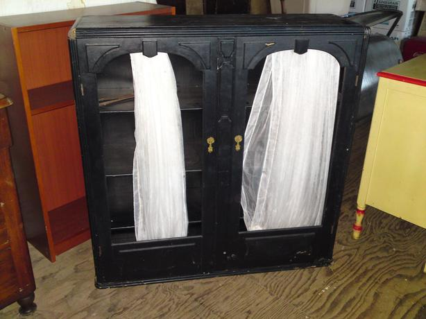 funky art deco black bookcase / cabinet