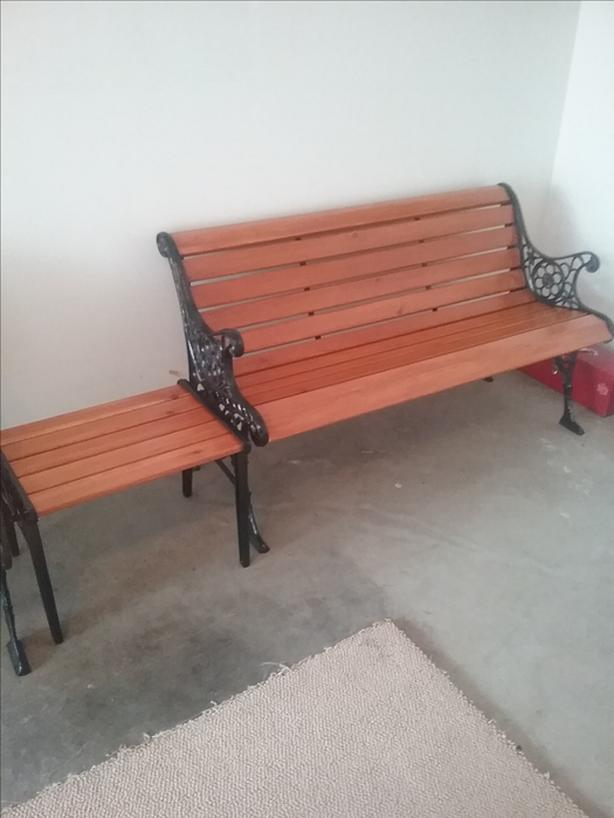 Garden Bench with side table