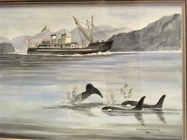 """Lady Rose"" Original Signed Hawker 94 West Coast Fishing Boat & Orca 15"" x 18"""