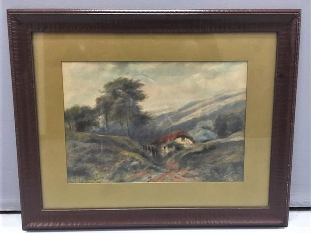 "Old Paintings Showing Cottage with Hills & Tree - Gold Matting Size: 15"" x 19"""