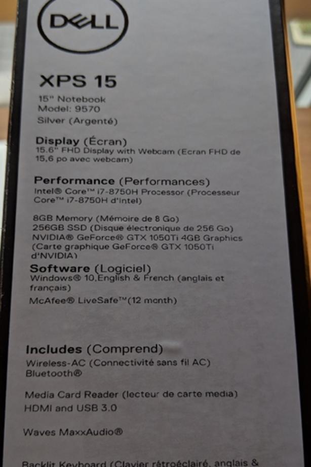 Dell XPS 15 9570 Silver i7 8750h 256GB 8GB Ram GTX 1050Ti South