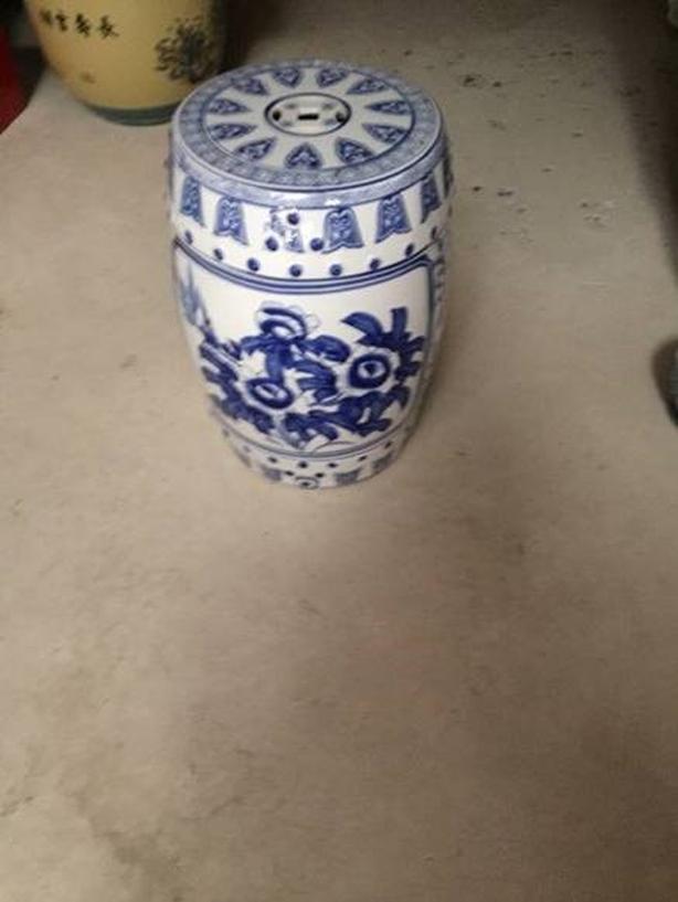 Oriental Blue Garden Seat - Hand Painted
