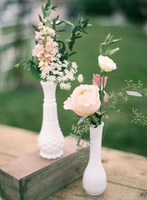 ! box full of Beautiful milk glass vases