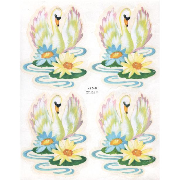Vintage Swan with Lotus Blossoms Decals