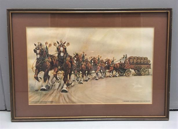 "Carlsberg Championship Team & Wagon Print, Matting, framed Under Glass 16"" x 22"""