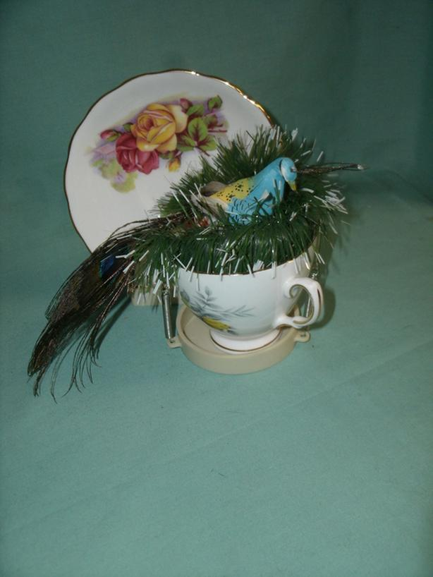 Tea Cup & Saucer with nesting Bird