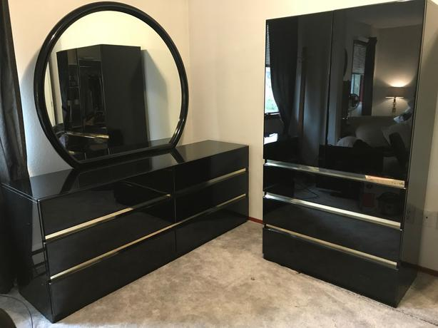 Complete Black Lacquer Bedroom Set in GREAT SHAPE! Central ...