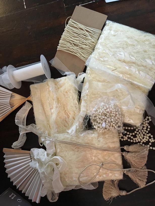 Ruffle trim, beads, ribbon, fans, etc $40 OBO