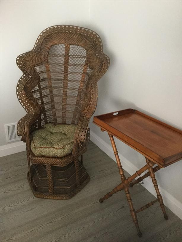 "Woven wicker ""Peacock"" antique chair"