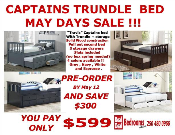 TRUNDLE CAPTAINS BED SAVE OVER $300 NOW ONLY $599