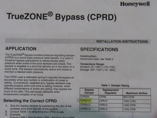 10 Honeywell CPRD10 TrueZONE Bypass Damper