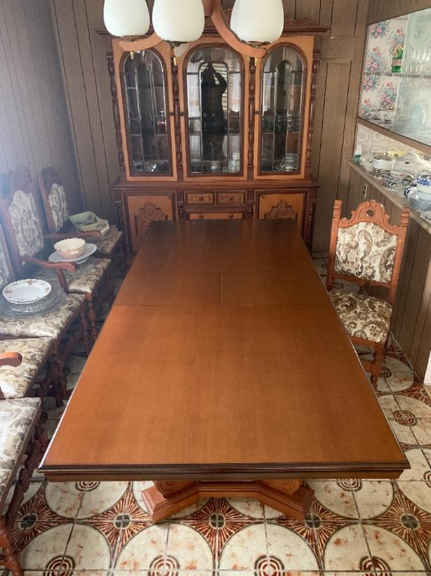 60+ yr old Dining Table, 6 chairs and matching cabinet Hutch