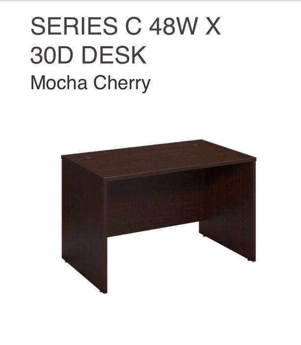 "Desk 48"" wide x 30"" deep.    Mocha Cherry"