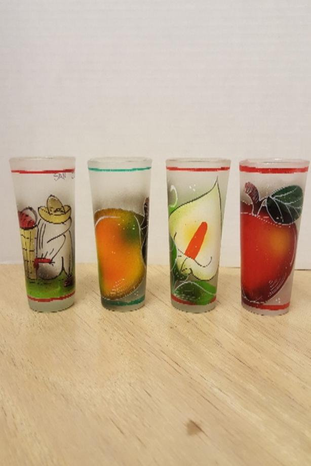 A Set Of 4 Vintage Frosted Handpainted Tequilla Drinking Shot Glasses